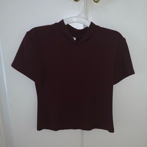 Cropped American Apparel maroon turtleneck